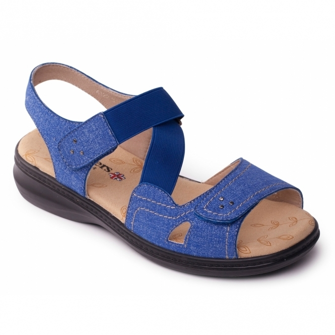 Padders LOUISE Ladies Extra Wide Plus Velcro Sandals Blue