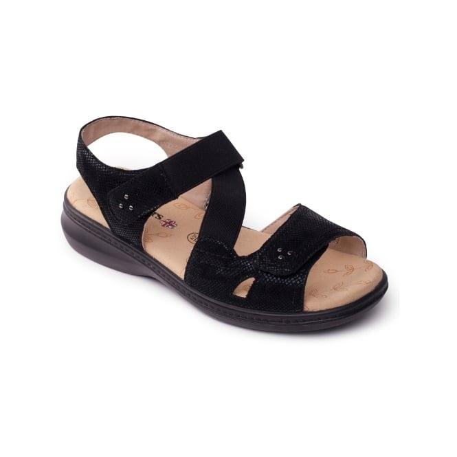 Padders LOUISE Ladies Extra Wide Plus Velcro Sandals Black
