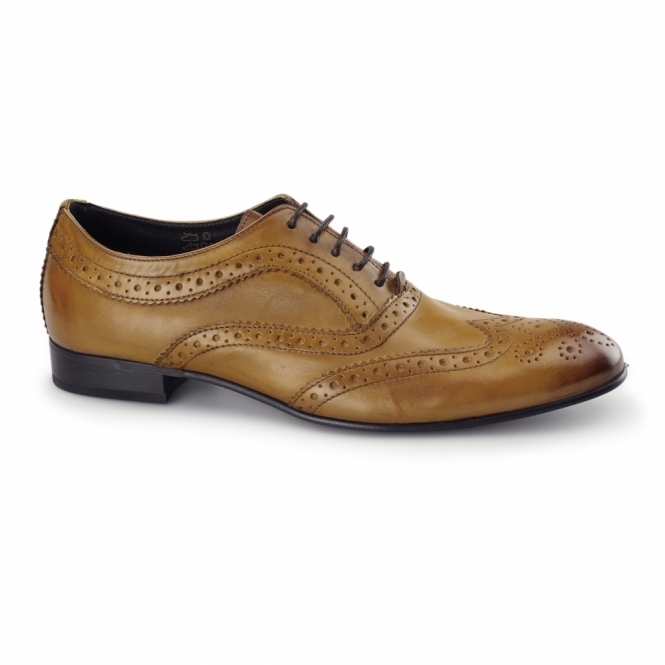 Base London COMMERCE Mens Leather Brogue Shoes Tan
