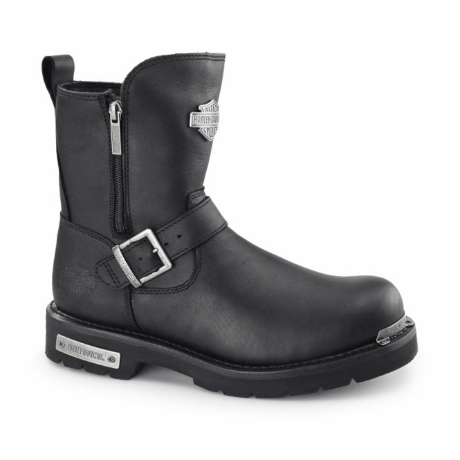 Harley Davidson STARTEX Mens Leather Zip Buckle Biker Boots Black