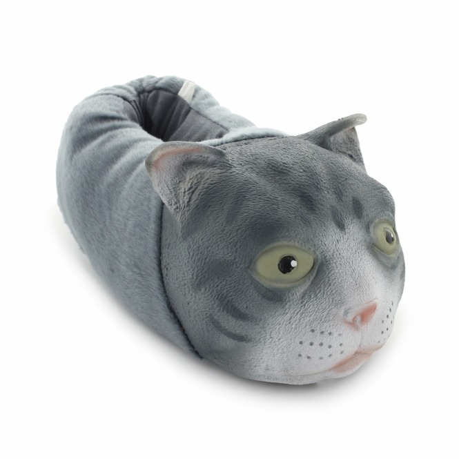 Shuperb MANDY Unisex Novelty Cat Slippers Grey