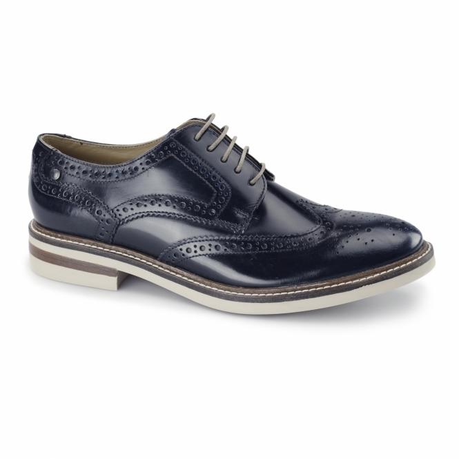 Base London APSLEY Mens Leather Brogue Derby Shoes Blue