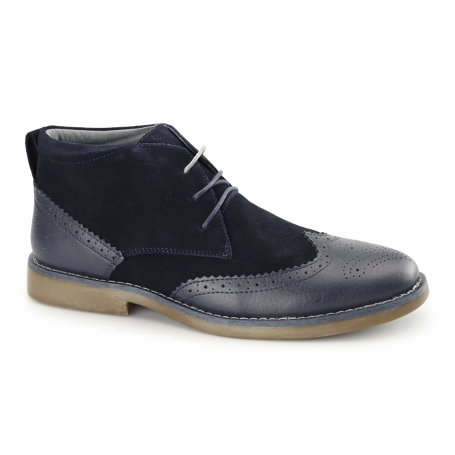Front REGGIE Mens Suede Leather Brogue Chukka Boots Navy