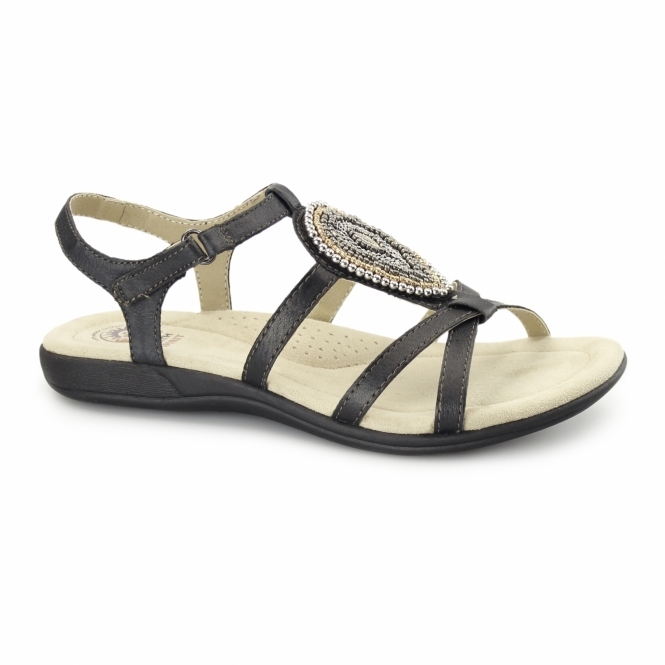 Earth Spirit HOUSTON Ladies Jewel Velcro Sandals Black
