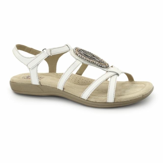 Earth Spirit HOUSTON Ladies Jewel Velcro Sandals White