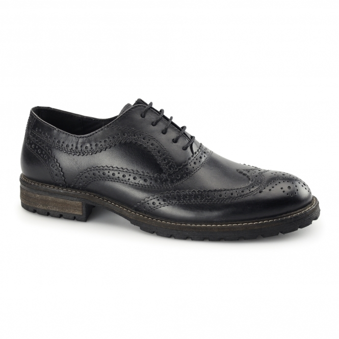 Red Tape BARROW Mens Leather Lace Up Brogues Black