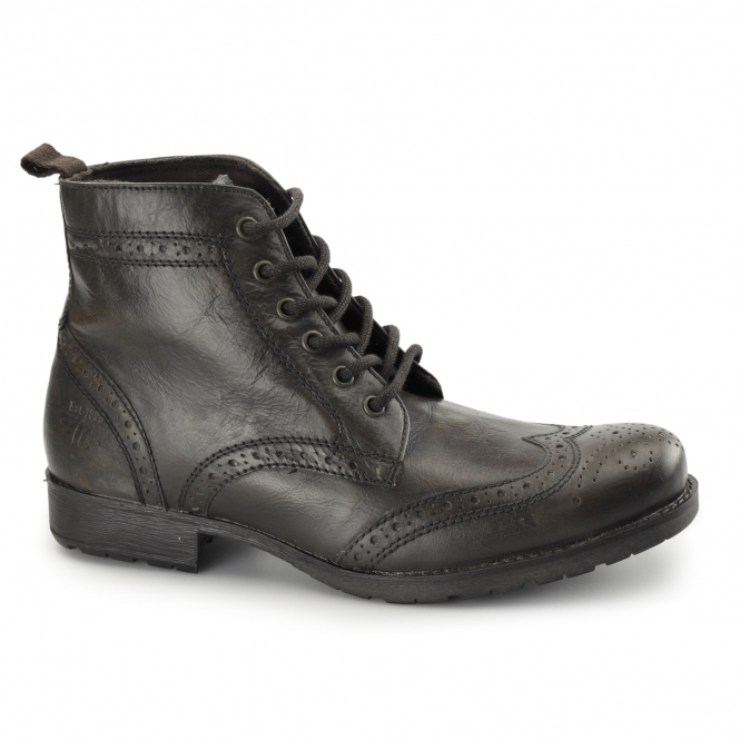 Red Tape BUTLEY Mens Leather Brogue Military Boots Brown