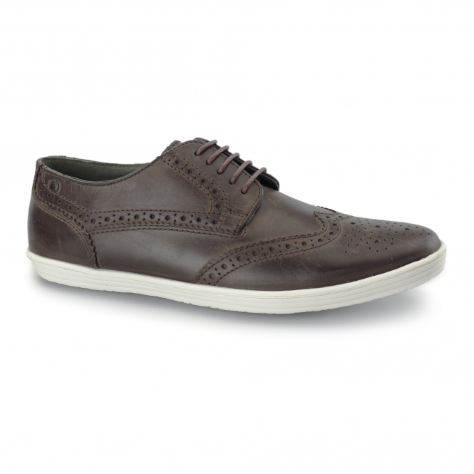 Base London PERFORM Mens Leather Brogue Shoes Brown