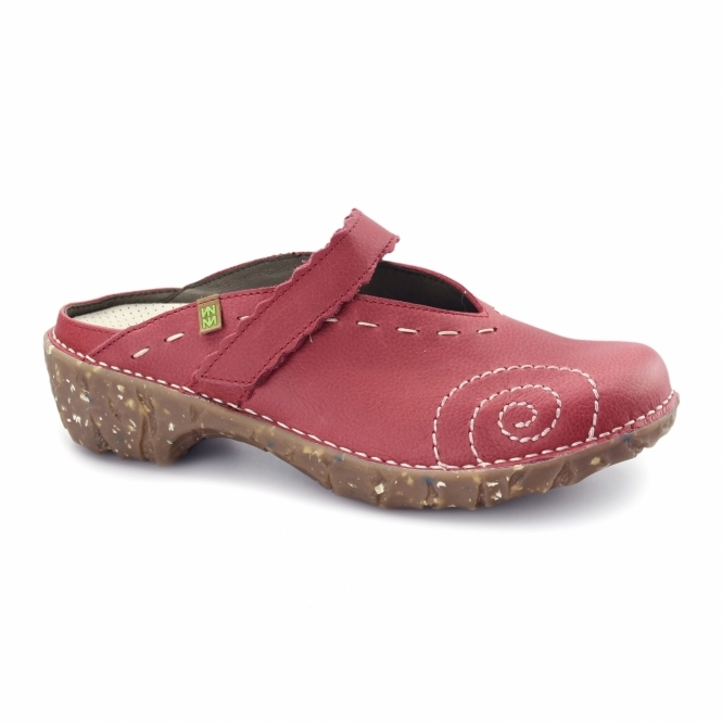 El Naturalista NG96 Ladies Leather Clog Shoes Grosella