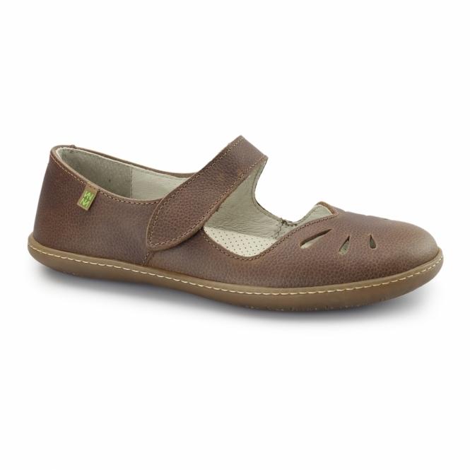 El Naturalista N249 Ladies Leather Mary Jane Shoes Wood
