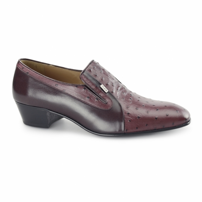Paco Milan TEXAS Mens Ostrich Leather Cuban Heel Shoes Burgundy