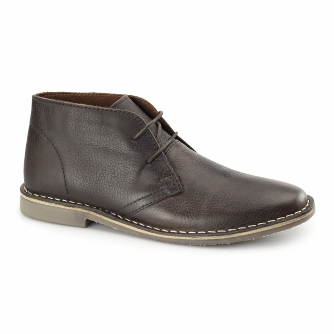 Red Tape GOBI II Mens Leather Desert Boots Milled Brown