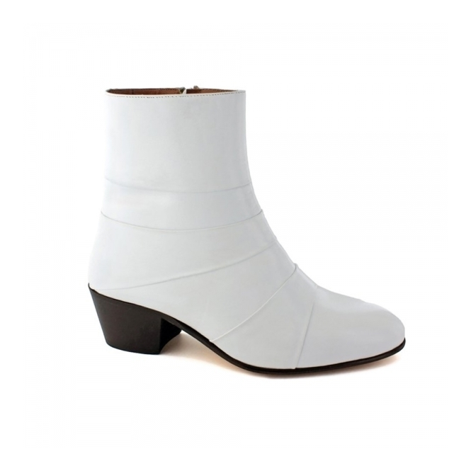 Shuperb ENRIQUE Mens Cuban Heel Plain Leather Boots White