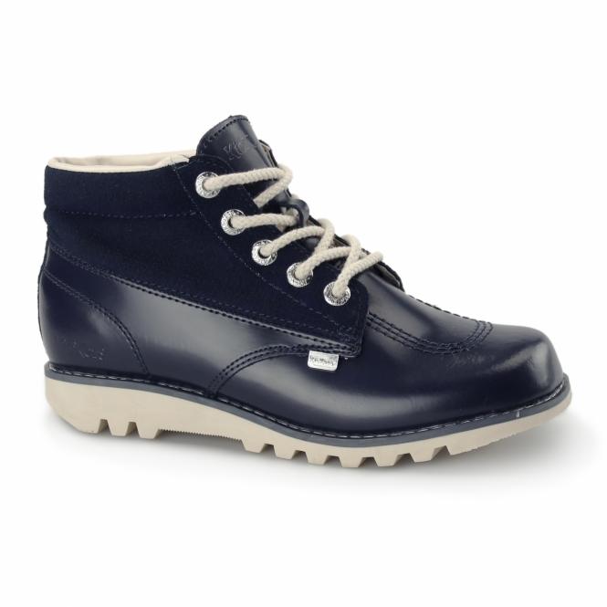 Kickers KICK HI SIDE Ladies Leather Boots Dark Blue