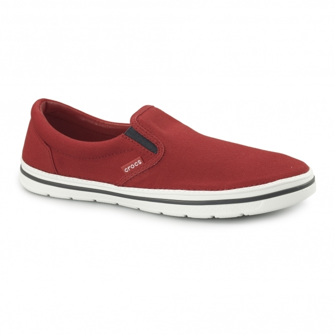 Crocs NORLIN SLIP ON Mens Canvas Trainers Flame/White