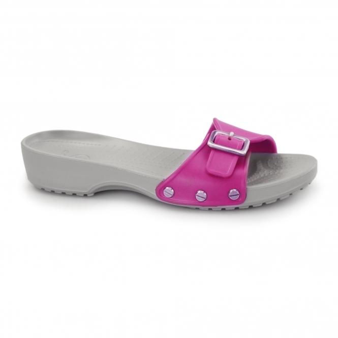 Crocs SARAH Ladies Croslite Buckle Mule Sandals Raspberry/Light Grey