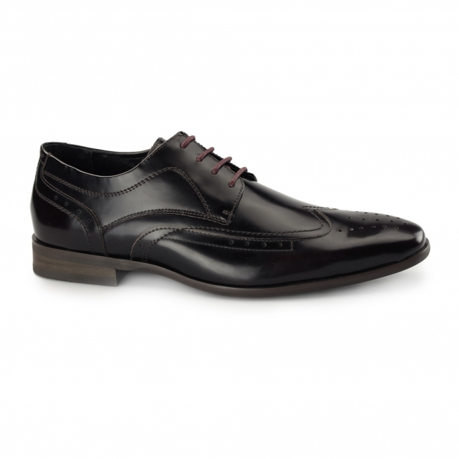Azor CATANIA Mens Leather Derby Brogues Rubbed Black/Red