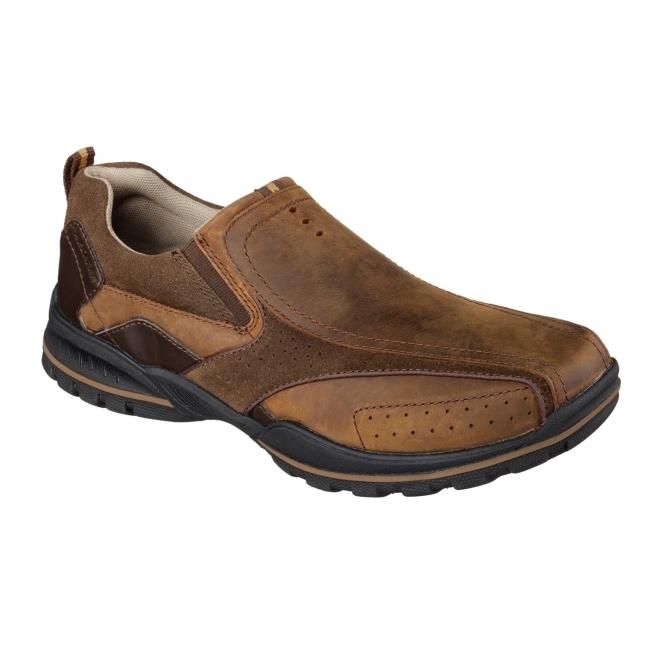 skechers vorlez conven mens slip on leather shoes