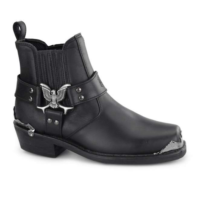 Grinders EAGLE LO Mens Leather Harness Biker Boots Black