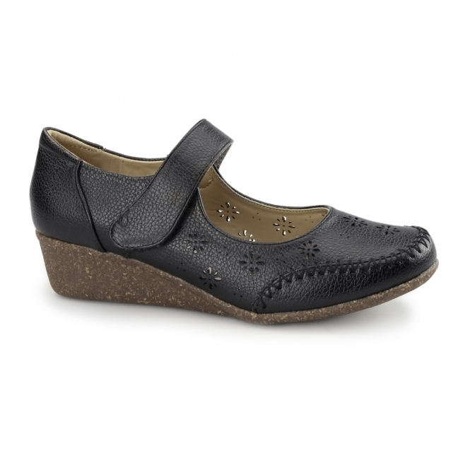 Natrelle BRONTE Ladies Velcro Mary Jane Shoes Black
