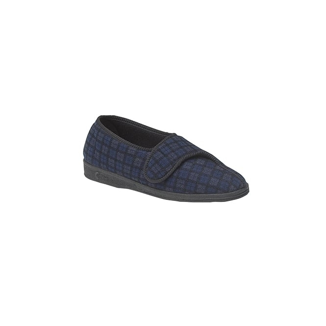 Comfylux PAUL Mens Wide Fit Velcro Checked Slippers Blue