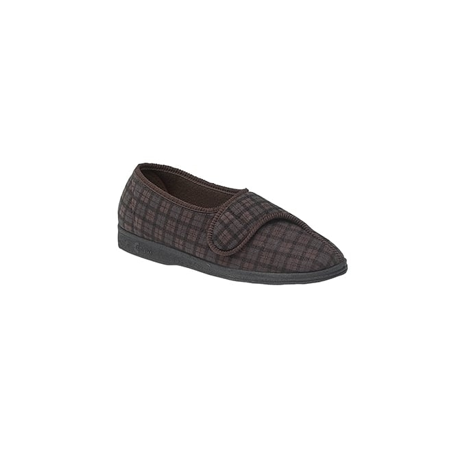 Comfylux PAUL Mens Wide Fit Velcro Checked Slippers Brown