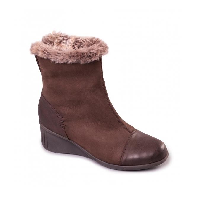 Aerosoles STAY INSIDE Ladies Nubuck Heeled Boots Dark Brown