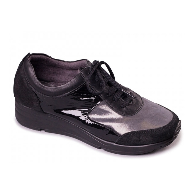 Aerosoles LOOK AT ME Ladies Leather Sports Trainers Glitter Black
