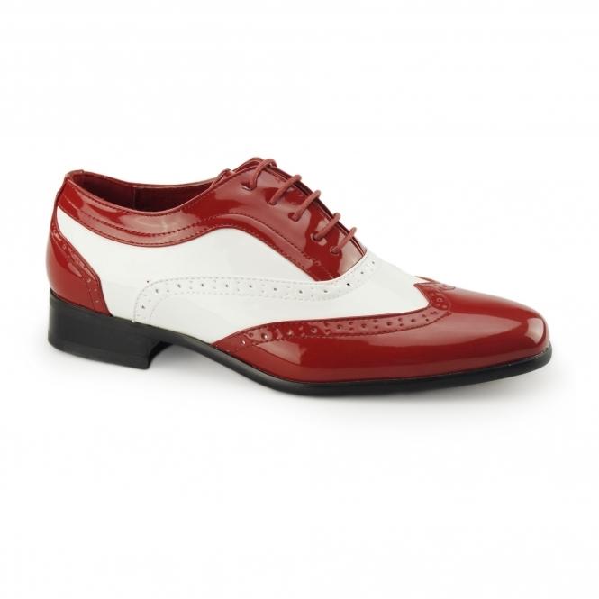 Rossellini BORSALINO Mens Brogue Patent Shoes Red/White