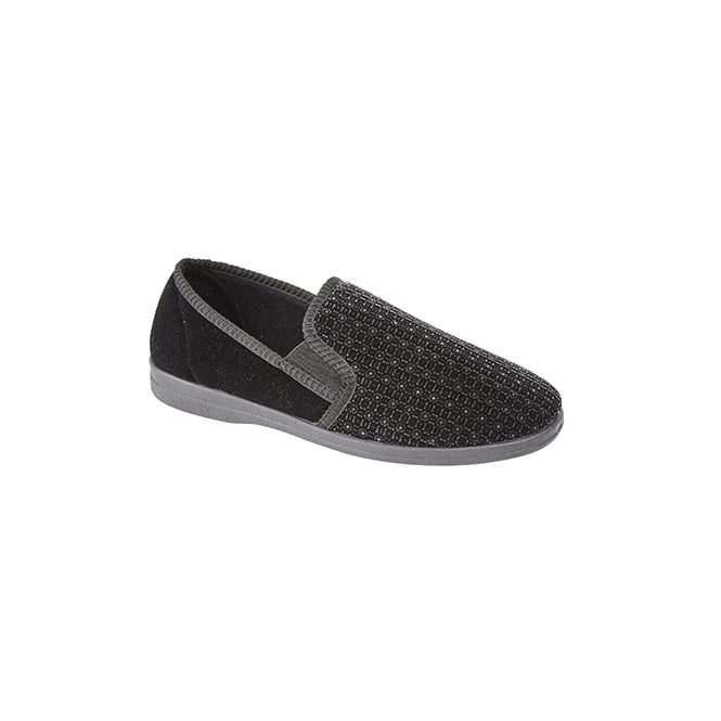 Sleepers GAVIN Mens Velour Full Slippers Black