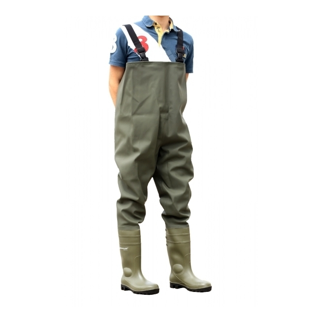Dunlop PROTOM 142VP PT Mens S5 Safety Chest Waders Green