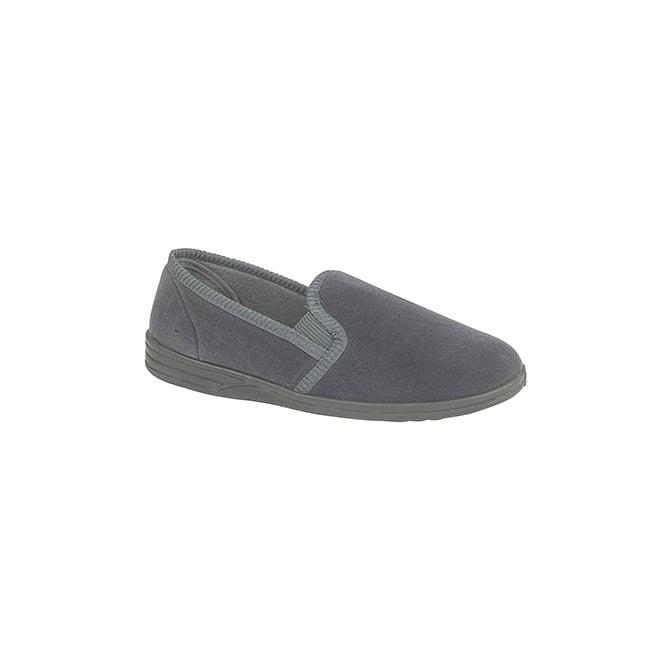 Zedzzz ROSS Mens Twin Gusset Full Slippers Grey