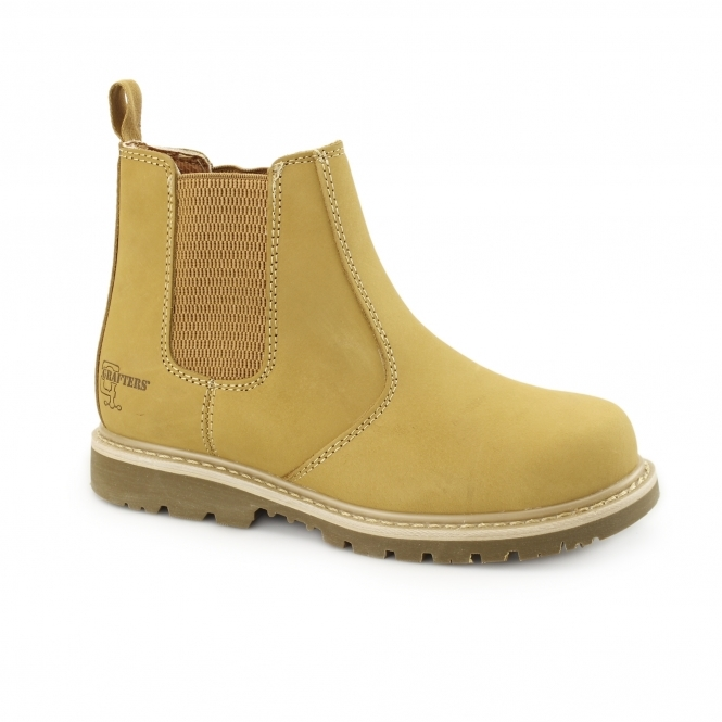 Grafters Unisex Leather Goodyear Welted Safety Chelsea Boots Honey