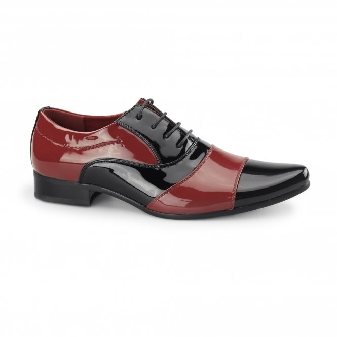Rossellini MARCO Mens Patent Two Tone Shoes Black/Red