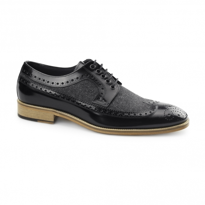 Carvelos CATANIA Mens Leather Tweed Brogues Black/Black