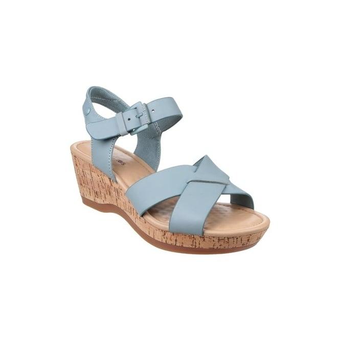 Hush Puppies EVA FARRIS Ladies Leather Wedge Sandals Blue