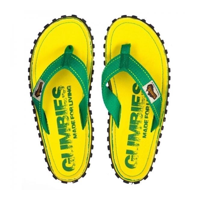 Gumbies ISLANDER Mens Canvas Flip Flops Eroded Yellow
