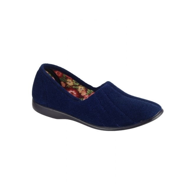 Great British Slippers AUDREY Ladies Slip On Full Slippers Navy