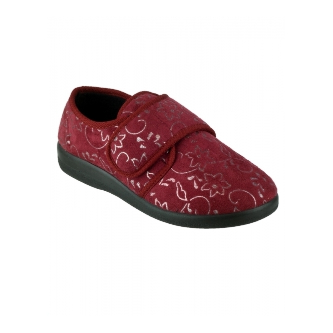 GBS Med POOLE Ladies Medical Floral Slippers Burgundy