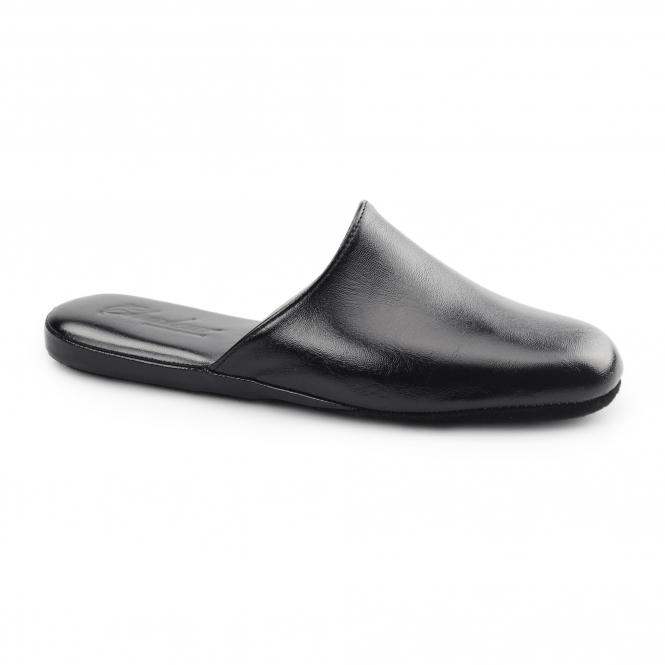 Chaleur LUCA Mens Leather Mule Comfort Slippers Black