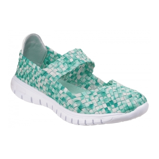 Divaz DRIFT Ladies Woven Mary Jane Shoes Green