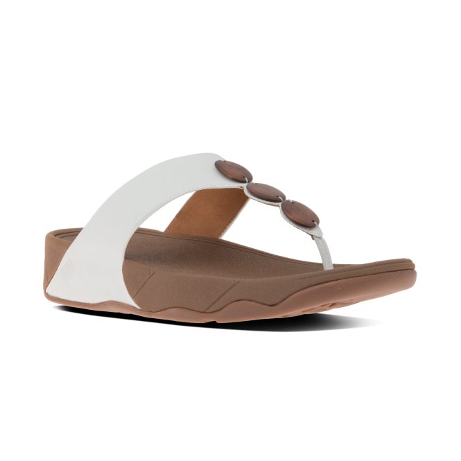 FitFlop™ PETRA™ Ladies Leather Decorative Toe Post Sandals Urban White