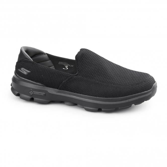 Skechers GO WALK 3 Mens Slip On Walking Trainers Black