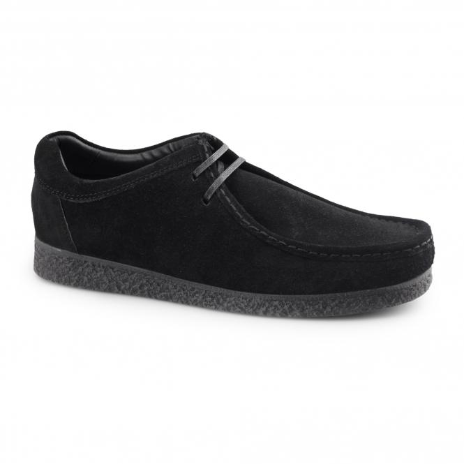 Base London GENESIS Mens Suede Leather Moccasin Shoes Black