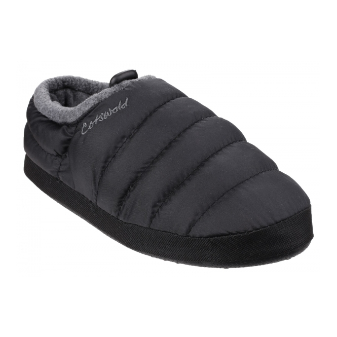 Cotswold CAMPING Mens Faux Fur Camping Slippers Black