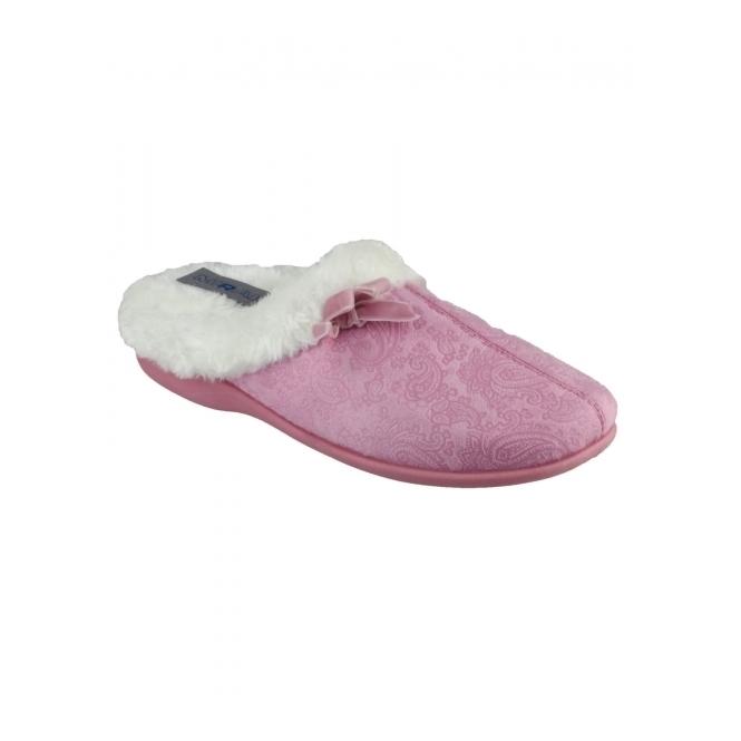 Mirak DIEPPE Ladies Faux Fur Paisley Mule Slippers Pink