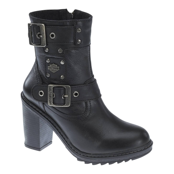 Harley Davidson LUDWELL Ladies Leather High Heel Ankle Boots Black