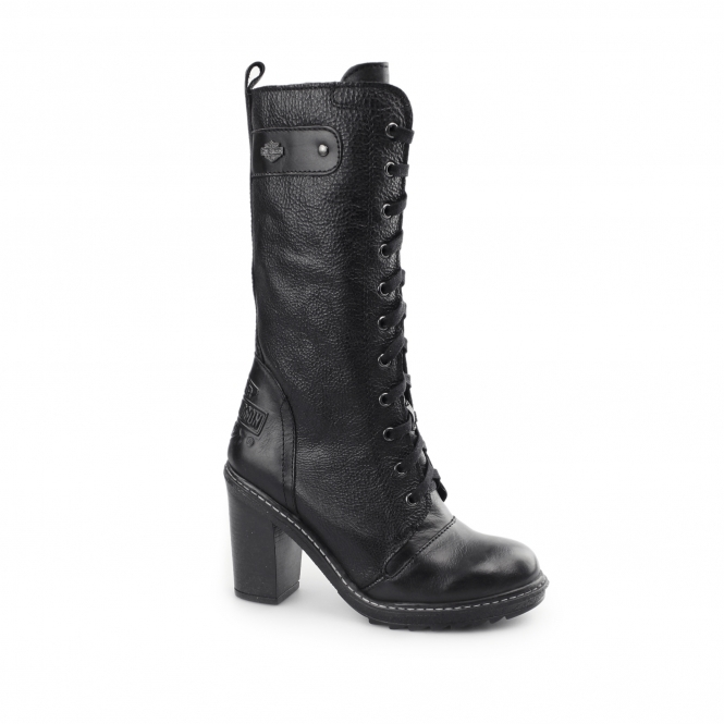 Harley Davidson LUNSFORD Ladies Leather Tall High Heel Boots Black