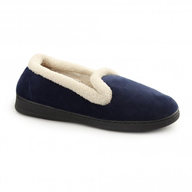 Fluffys JUSTINE Ladies Memory Foam Full Slippers Navy