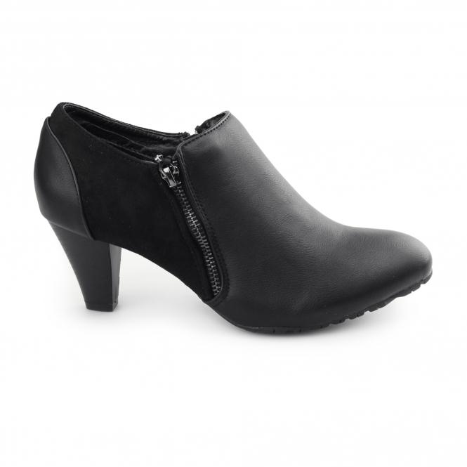 Comfort Plus CLAIRE Ladies Faux Leather Zip Wide Fit Boots Black